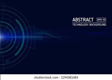 Abstract technology background vector. A HUD shape, decorative wavy lines with dark and ligth blue colors. For websites, banners, cool designs, technology concept. Eps 10 vector.