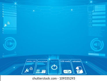 Abstract technology background - vector illustration  control room abstract background big screen hi technology