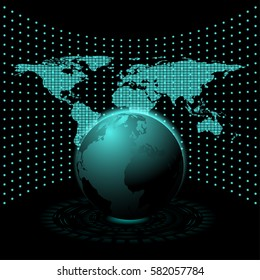 Abstract technology background with world map concept design some Elements of this image furnished by NASA