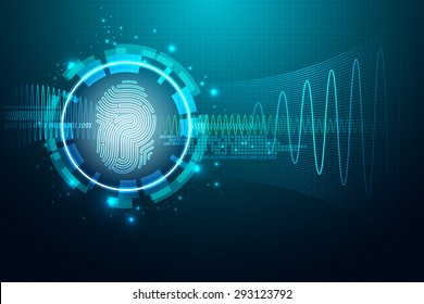 Abstract technology background.Security system concept with fingerprint Letter P sign.Vector illustration