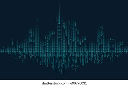 abstract technology binary city; digital building in modern style; concept of technology world