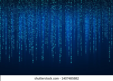 Abstract Technology Binary code Background with binary data fall from the top of the screen.Digital binary data and Secure Data Concept