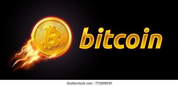 Abstract technology bitcoin symbol. Golden bitcoin coin on dark background in orange and yellow flame fire fluing in high. Virtual money Digital currency. Vector stock illustration. EPS 10