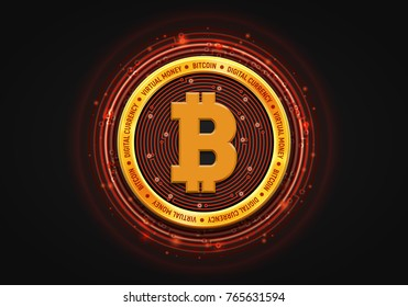 Abstract technology bitcoin symbol. Virtual money / Digital currency. Vector illustration.