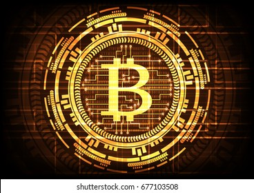 Abstract technology bitcoins logo with circuit line on binary code and gear gold background . Vector illustration bitcoin mining internet online technology concept.