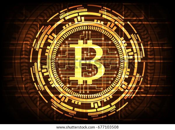 Abstract Technology Bitcoins Logo Circuit Line Stock Vector