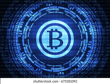 Abstract technology bitcoins logo on binary code and gear blue background . Vector illustration cybercrime and cyber security concept.