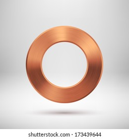 Abstract technology blank donut button template with bronze metal texture (chrome, steel, silver, copper), realistic shadow and light background for web user interfaces (UI) and applications (apps).