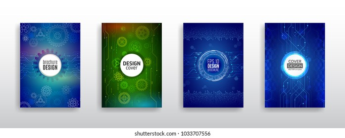 Abstract technology brochure templates. High tech cover design concept. Futuristic business layout.