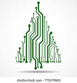 Abstract technology Christmas tree, circuit board, vector illustration, eps 10