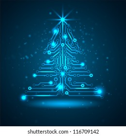 Abstract technology Christmas tree. Vector illustration.