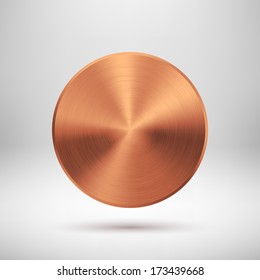 Abstract technology circle button template with bronze metal texture (chrome, steel, silver, copper), realistic shadow and light background for web user interfaces (UI) and applications (apps).