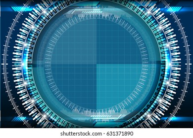 Abstract technology circles blue background with light effect, vector illustration