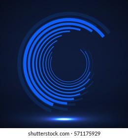 Abstract technology circles, geometric logo, vector