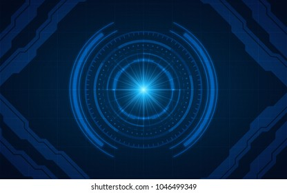 abstract technology circles and grid lines on dark blue color background