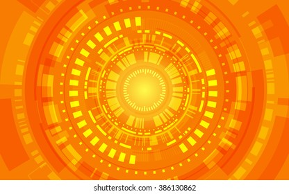 abstract technology circles and lines on orange background (vector)