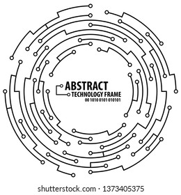 Abstract technology circuit board round frame. Vector illutration