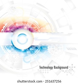 Abstract technology composition background in blue and red.