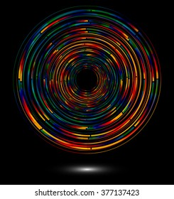 Abstract technology concept background with colorful radial lines