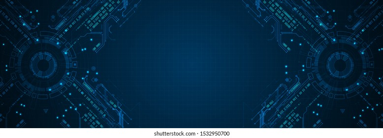 Abstract technology concept. Circuit board, high computer color background. Vector illustration