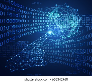 abstract technology concept hand digital link and world digital future on binary hi tech background
