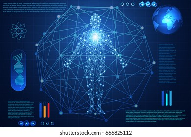 abstract technology concept human body digital health care ; hud interface of health  future design on hi tech background