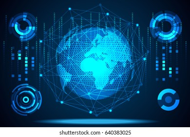 abstract technology concept world digital link ; hud interface and circle hi tech background,Connect everyone in the world together. With technology of the future.