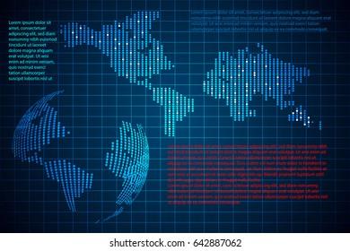 abstract technology concept world digital link map dot design hi tech background