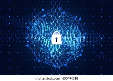 abstract technology concept world digital link cyber security on hi tech hexagon background,The more modern the technology. All over the world, more and more modern defense systems are needed.