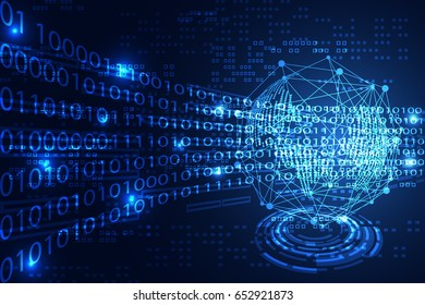 abstract technology concept world digital link binary on hi tech blue background