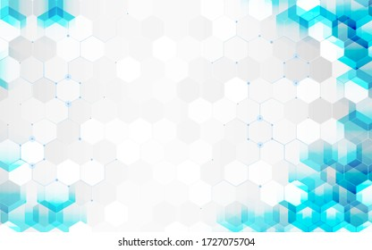 Abstract technology cystal transparency shapes blue color with white color space background.