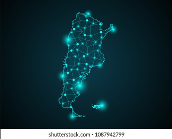 Abstract technology digital backgrounds with Argentina map.World map point scales on dark background. Wire frame 3D mesh polygonal network line. Vector illustration eps 10.