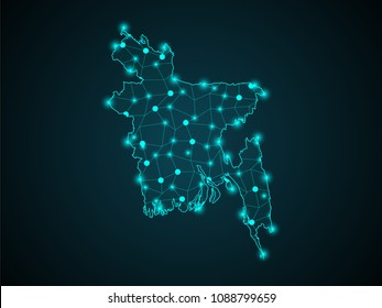 Abstract technology digital backgrounds with Bangladesh map.World map point scales on dark background. Wire frame 3D mesh polygonal network line. Vector illustration eps 10.