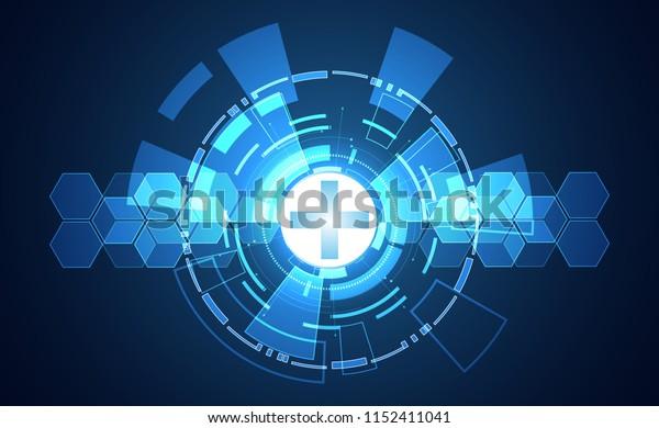 Abstract technology digital health medical concept on hi tech blue healthcare pharmacy on gradient black for template web design or presentation.Vector Illustration.EPS10