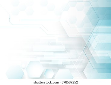 Abstract technology digital hi tech hexagons concept background. Space for your text