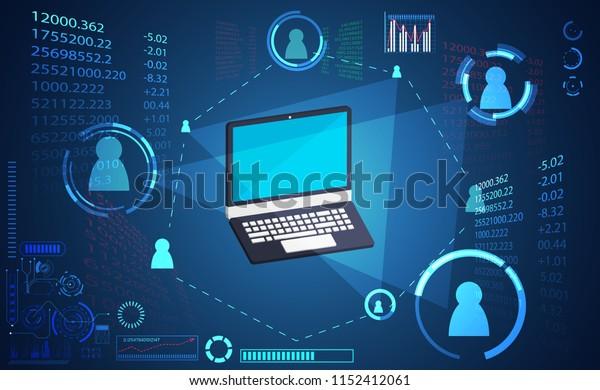 abstract technology digital link network connection, laptop link ui futuristic concept hud interface hologram elements of digital innovation on hi tech future design background