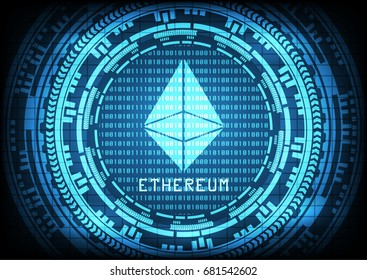 Abstract technology ethereum with circuit line on binary code and gears background. Vector illustration Cryptocurrency mining concept.