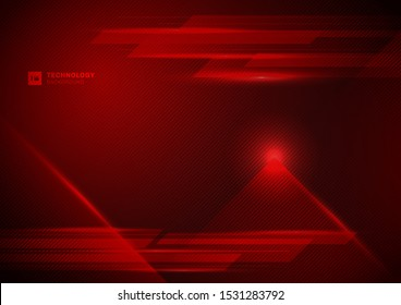 Abstract technology futuristic concept digital of red light ray with diagonal stripes lines texture on dark red background. Science, energy, Vector illustration
