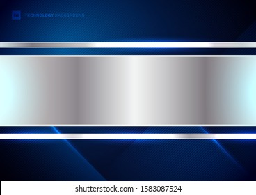 Abstract technology futuristic concept digital of blue light ray diagonal stripes lines texture on dark blue background with metallic silver tab space for your text. Science, energy, Vector