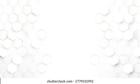 Abstrakte Technologie, Futuristic Digital High Tech Konzept. Abstrakter weißer und goldener sechseckiger Hintergrund. Luxuriöses weißes Muster. Vektorgrafik