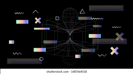 Abstract Technology Futuristic Minimal Vector Background. Conceptual illustration of Wormhole in Time and Space.