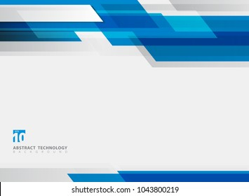 Abstract technology geometric blue color shiny motion background. Template with header and footer for brochure, print, ad, magazine, poster, website, magazine, leaflet, annual report. Vector corporate