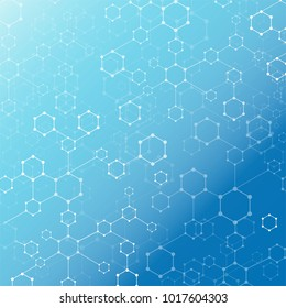 Abstract technology  geometric hexagon with dots line connection blue background. DNA medical and molecules. Vector illustration