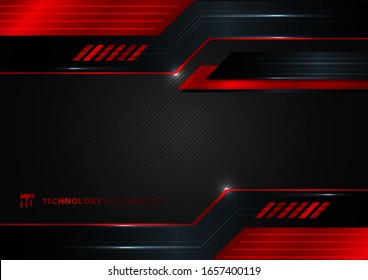 Abstract technology geometric red and black color shiny motion background. Template with header and footers for brochure, print, ad, magazine, poster, website, magazine, leaflet, annual report. Vector
