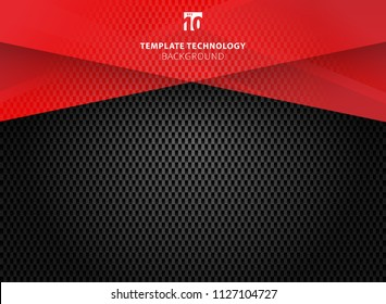 Abstract technology geometric red color shiny motion carbon fiber texture on dark background. Template with header and footer for brochure, print, ad, magazine, poster, website, magazine, leaflet