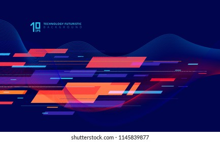Abstract technology geometric and twist lines colorful on dark blue background. Vector illustration