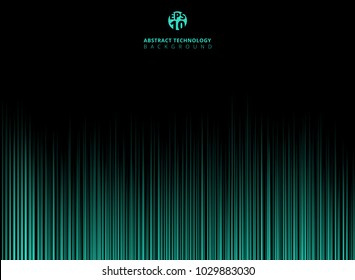 Abstract technology green light lazer lines vertical pattern on dark background. Vector graphic illustration