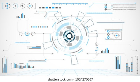 abstract technology grey white background with various technology concept elements digital data chart hi tech,Circle virtual,technological hud interface hologram innovation circle.illustration Vector