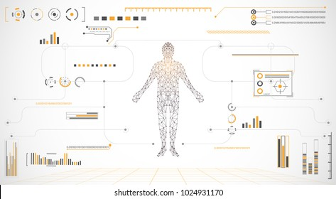 abstract technology grey white background with various technology concept elements digital data chart hi tech,human health,technological hud interface hologram innovation circle.illustration Vector