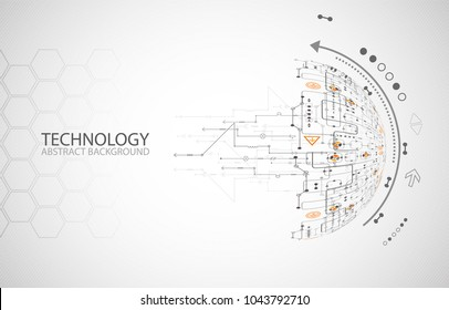 Abstract technology half -  sphere background. Global network concept. Vector